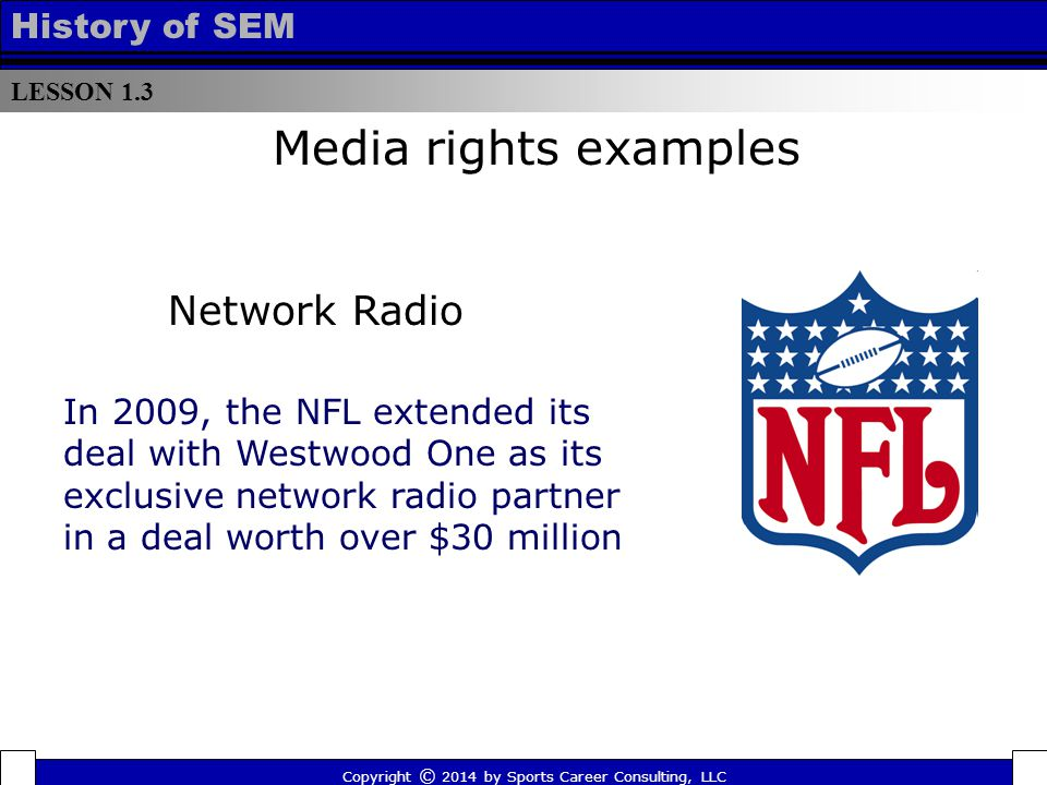 LESSON 1.3 History of SEM Copyright © 2014 by Sports Career Consulting, LLC In 2009, the NFL extended its deal with Westwood One as its exclusive network radio partner in a deal worth over $30 million Media rights examples Network Radio