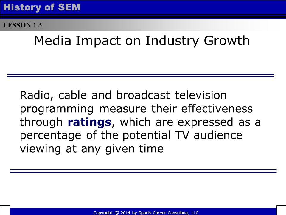 LESSON 1.3 History of SEM Media Impact on Industry Growth Radio, cable and broadcast television programming measure their effectiveness through ratings, which are expressed as a percentage of the potential TV audience viewing at any given time Copyright © 2014 by Sports Career Consulting, LLC