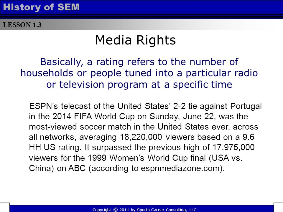 LESSON 1.3 History of SEM Copyright © 2014 by Sports Career Consulting, LLC Media Rights Basically, a rating refers to the number of households or people tuned into a particular radio or television program at a specific time ESPN's telecast of the United States' 2-2 tie against Portugal in the 2014 FIFA World Cup on Sunday, June 22, was the most-viewed soccer match in the United States ever, across all networks, averaging 18,220,000 viewers based on a 9.6 HH US rating.