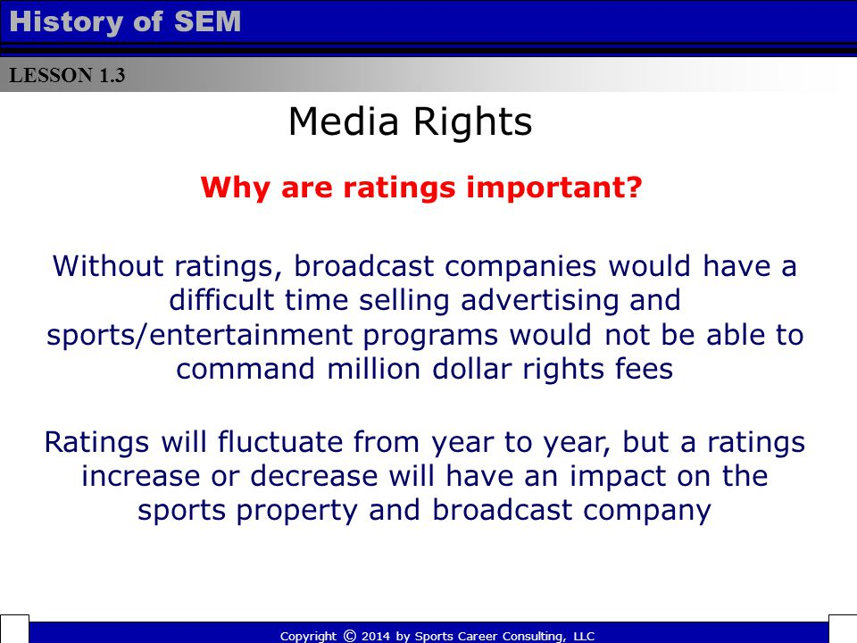 LESSON 1.3 History of SEM Copyright © 2014 by Sports Career Consulting, LLC Media Rights Why are ratings important? Without ratings, broadcast compani