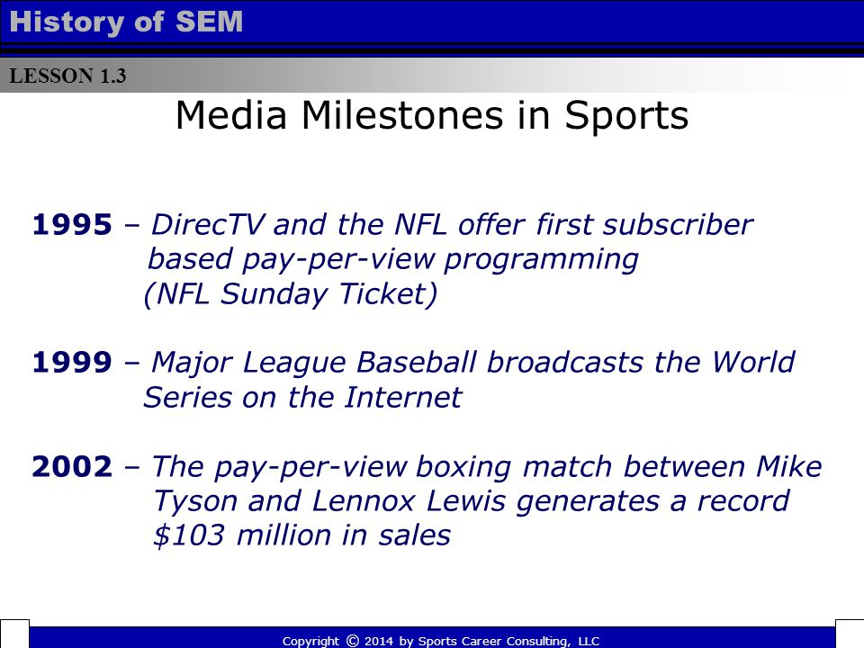 LESSON 1.3 History of SEM 1995 – DirecTV and the NFL offer first subscriber based pay-per-view programming (NFL Sunday Ticket) 1999 – Major League Bas