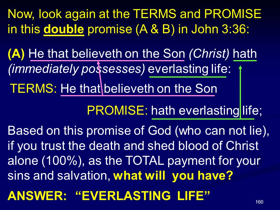 160 (A) He that believeth on the Son (Christ) hath (immediately possesses) everlasting life: Based on this promise of God (who can not lie), if you tr