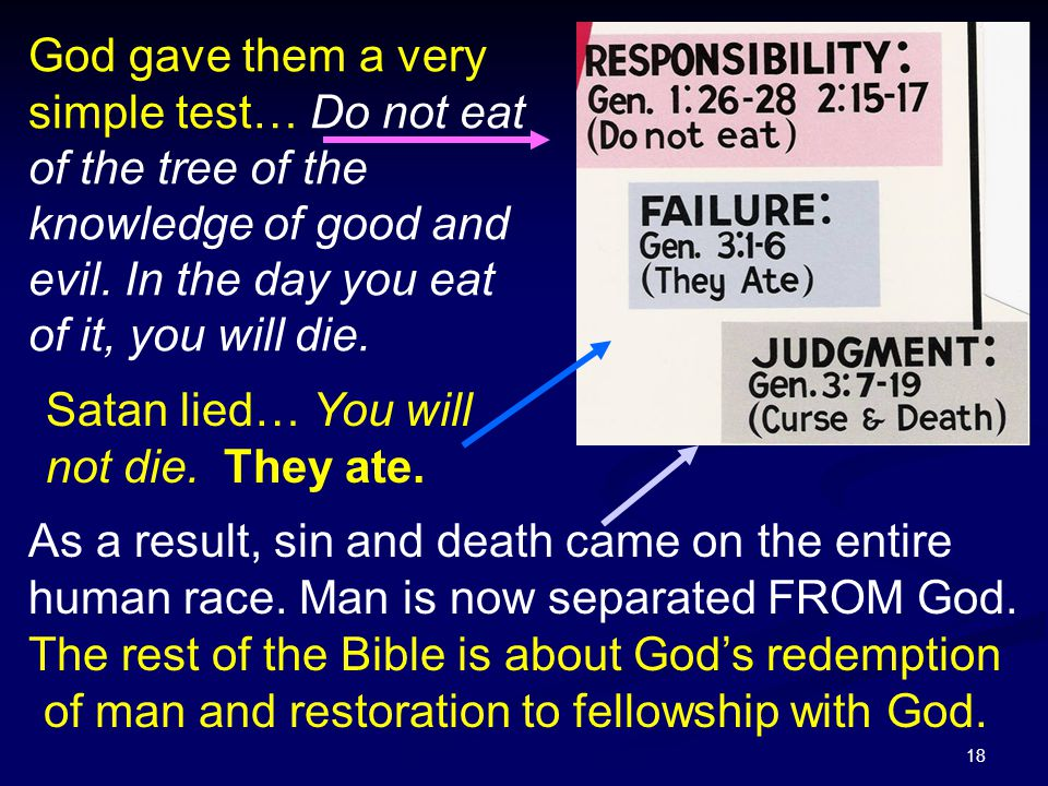 18 God gave them a very simple test… Do not eat of the tree of the knowledge of good and evil. In the day you eat of it, you will die. Satan lied… You