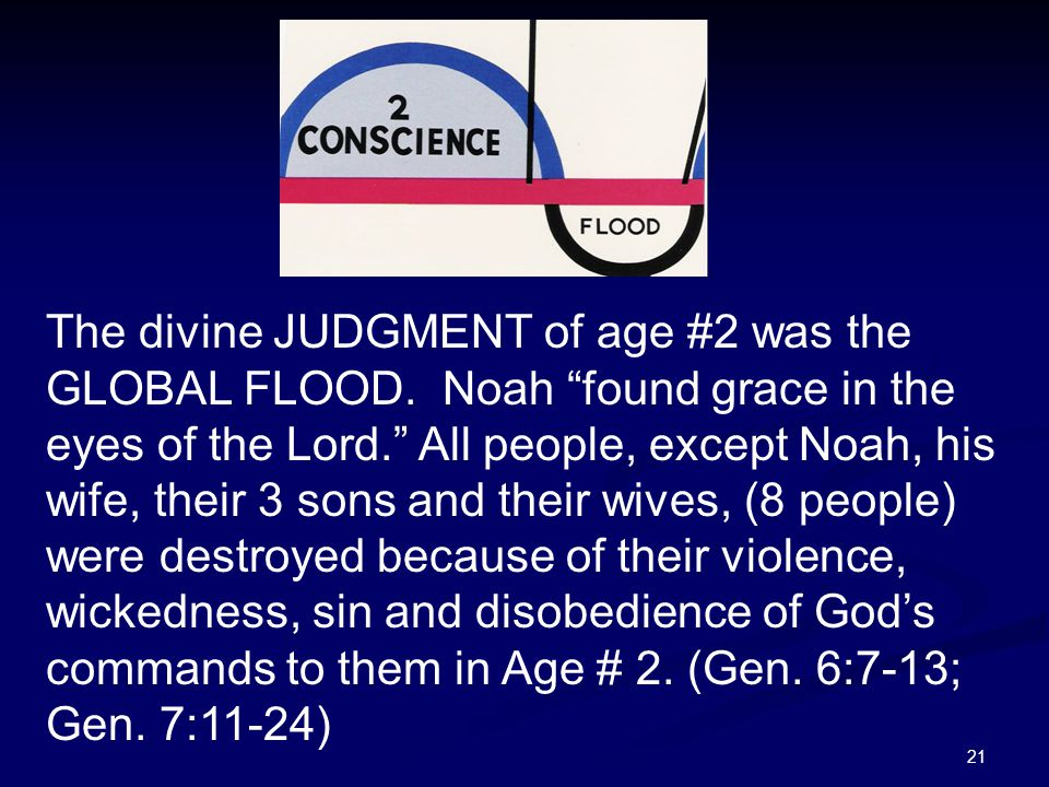 """21 The divine JUDGMENT of age #2 was the GLOBAL FLOOD. Noah """"found grace in the eyes of the Lord."""" All people, except Noah, his wife, their 3 sons and"""