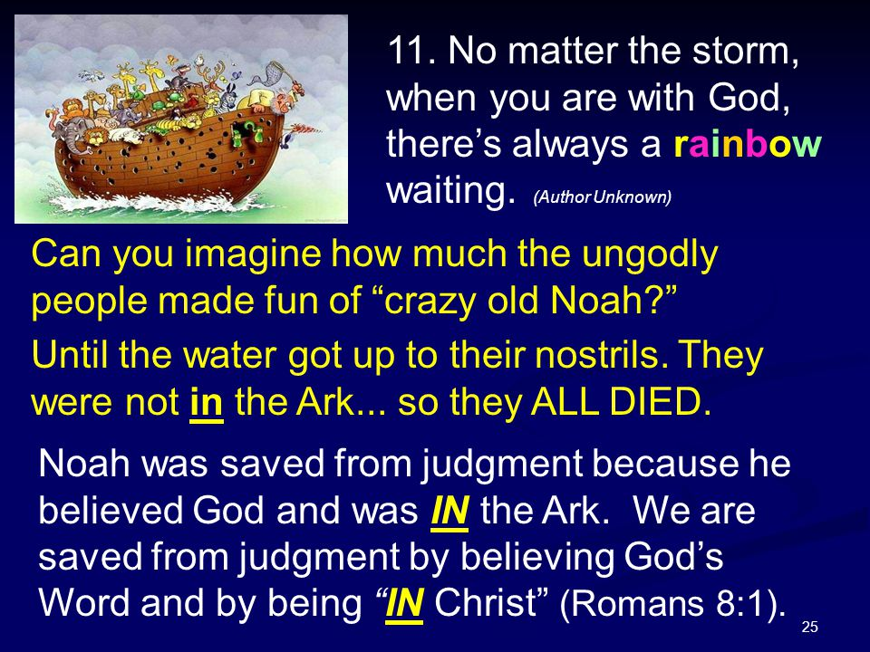 """25 Noah was saved from judgment because he believed God and was IN the Ark. We are saved from judgment by believing God's Word and by being """"IN Christ"""
