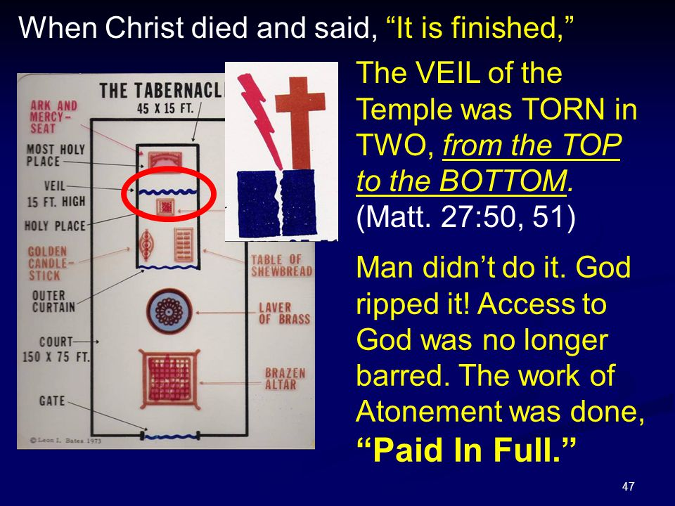 """47 When Christ died and said, """"It is finished,"""" Man didn't do it. God ripped it! Access to God was no longer barred. The work of Atonement was done, """""""