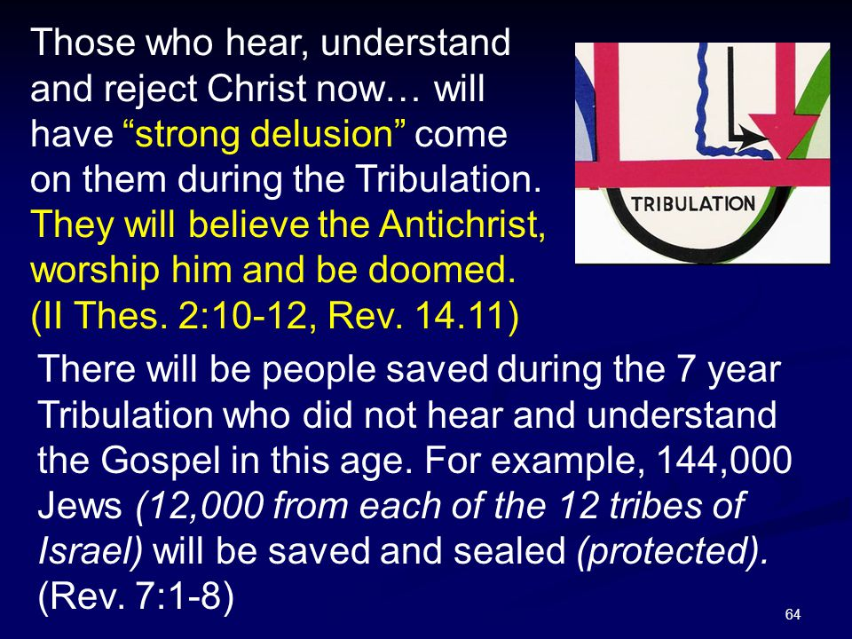 """64 Those who hear, understand and reject Christ now… will have """"strong delusion"""" come on them during the Tribulation. They will believe the Antichrist"""