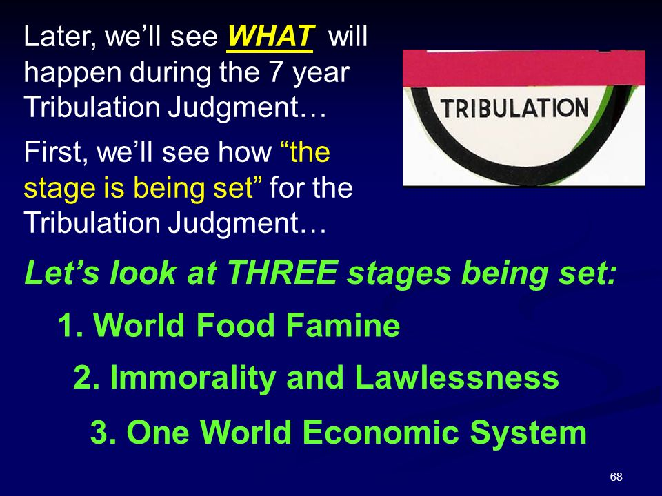 """68 First, we'll see how """"the stage is being set"""" for the Tribulation Judgment… Later, we'll see WHAT will happen during the 7 year Tribulation Judgmen"""