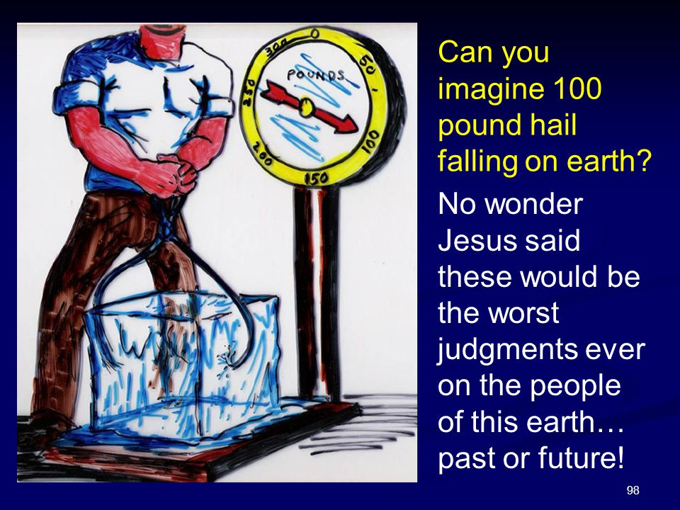 98 Can you imagine 100 pound hail falling on earth? No wonder Jesus said these would be the worst judgments ever on the people of this earth… past or
