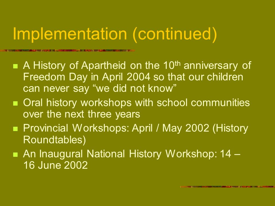 Establishment of a National History Teachers' Networking Forum Evaluation: June 2003 and June 2004