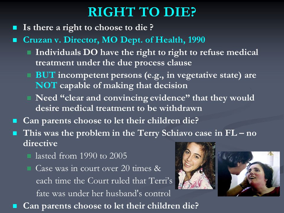 RIGHT TO DIE. Is there a right to choose to die .