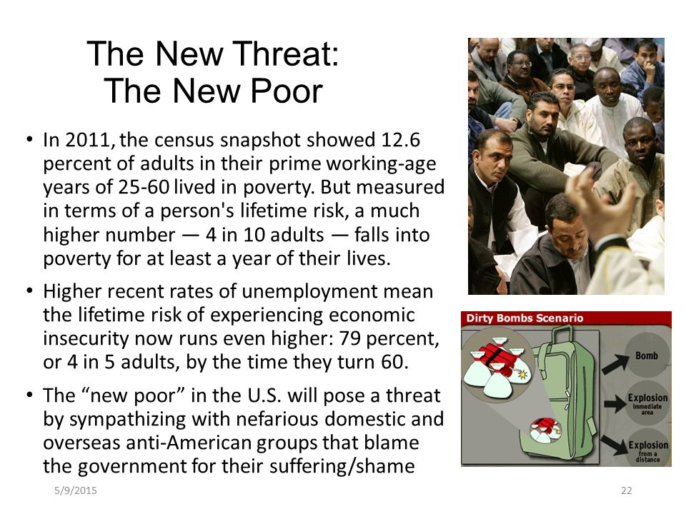 The New Threat: The New Poor In 2011, the census snapshot showed 12.6 percent of adults in their prime working-age years of 25-60 lived in poverty.