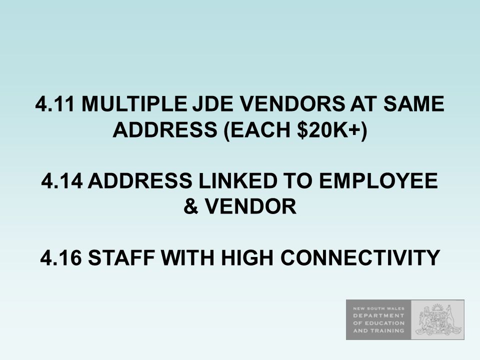 4.11 MULTIPLE JDE VENDORS AT SAME ADDRESS (EACH $20K+) 4.14 ADDRESS LINKED TO EMPLOYEE & VENDOR 4.16 STAFF WITH HIGH CONNECTIVITY