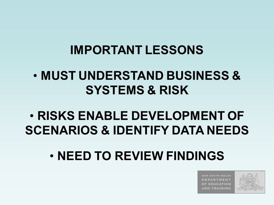 IMPORTANT LESSONS MUST UNDERSTAND BUSINESS & SYSTEMS & RISK RISKS ENABLE DEVELOPMENT OF SCENARIOS & IDENTIFY DATA NEEDS NEED TO REVIEW FINDINGS