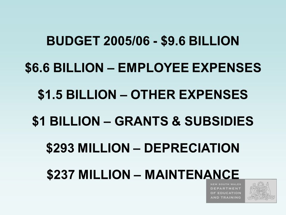 BUDGET 2005/06 - $9.6 BILLION $6.6 BILLION – EMPLOYEE EXPENSES $1.5 BILLION – OTHER EXPENSES $1 BILLION – GRANTS & SUBSIDIES $293 MILLION – DEPRECIATION $237 MILLION – MAINTENANCE
