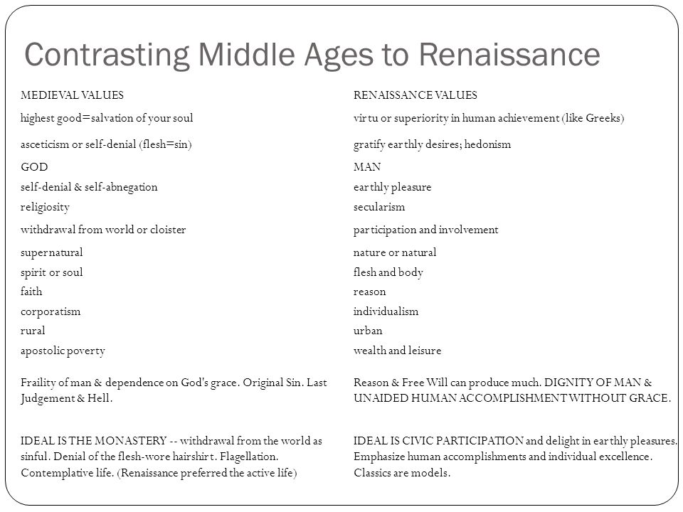 Contrasting Middle Ages to Renaissance MEDIEVAL VALUESRENAISSANCE VALUES highest good=salvation of your soulvirtu or superiority in human achievement (like Greeks) asceticism or self-denial (flesh=sin)gratify earthly desires; hedonism GODMAN self-denial & self-abnegationearthly pleasure religiositysecularism withdrawal from world or cloisterparticipation and involvement supernaturalnature or natural spirit or soulflesh and body faithreason corporatismindividualism ruralurban apostolic povertywealth and leisure Fraility of man & dependence on God s grace.