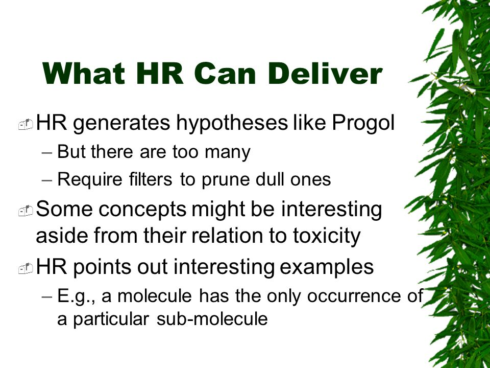 What HR Can Deliver  HR generates hypotheses like Progol –But there are too many –Require filters to prune dull ones  Some concepts might be interesting aside from their relation to toxicity  HR points out interesting examples –E.g., a molecule has the only occurrence of a particular sub-molecule