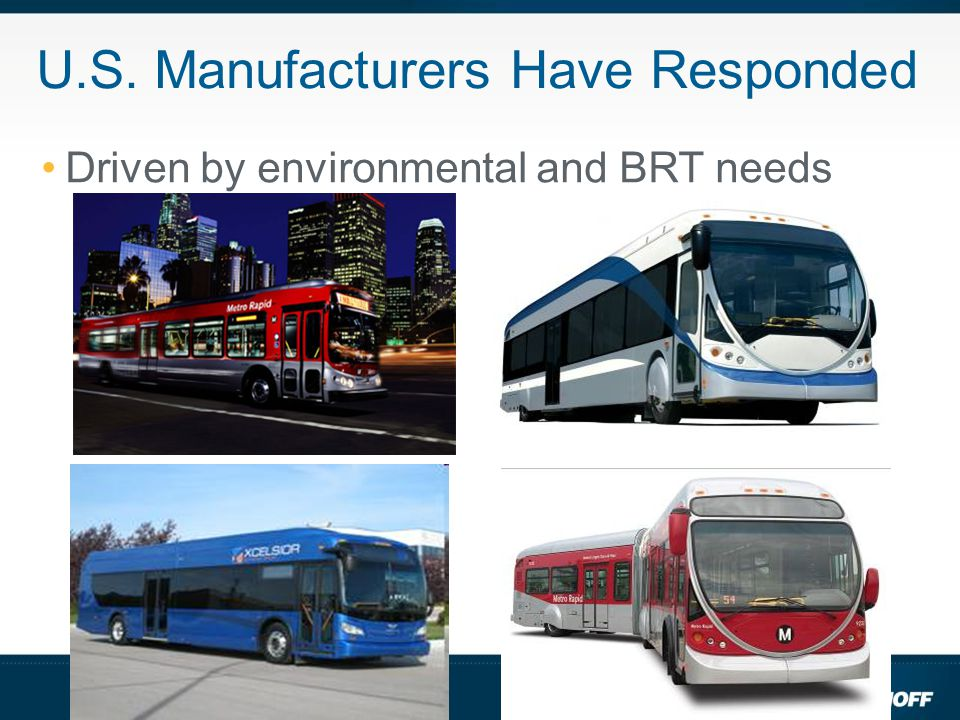 U.S. Manufacturers Have Responded Driven by environmental and BRT needs
