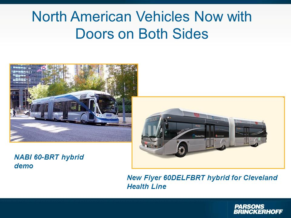 North American Vehicles Now with Doors on Both Sides NABI 60-BRT hybrid demo New Flyer 60DELFBRT hybrid for Cleveland Health Line