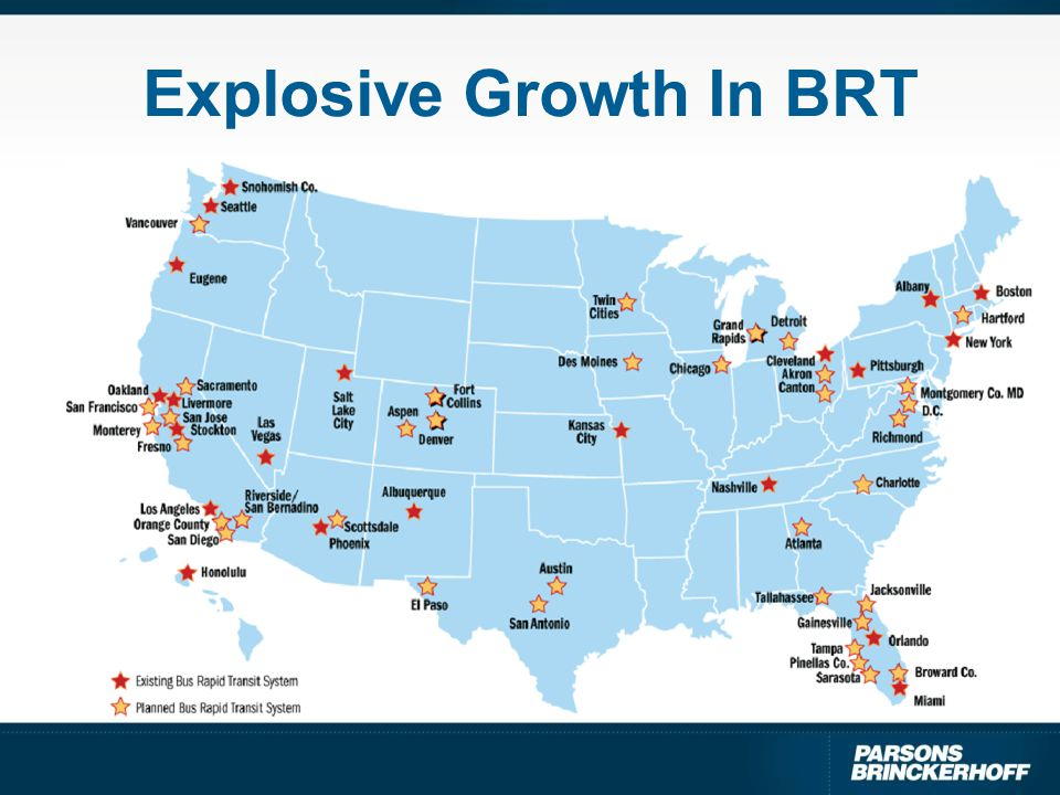BRT Vehicle Demand Growth 20% to be 40-45 footers 450 per year, 66% for new services Source: FTA 2004 Vehicle Demand Survey of 48 cities' expected BRT bus deliveries over the next 10 years (CALSTART, 2004) 30-35 ft.