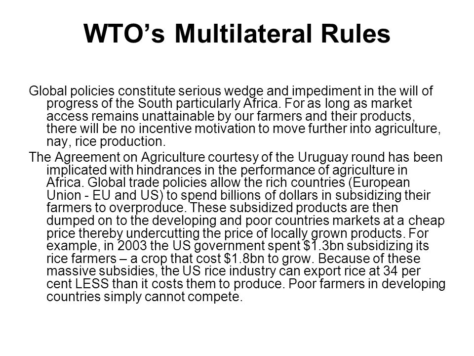 WTO's Multilateral Rules Global policies constitute serious wedge and impediment in the will of progress of the South particularly Africa.