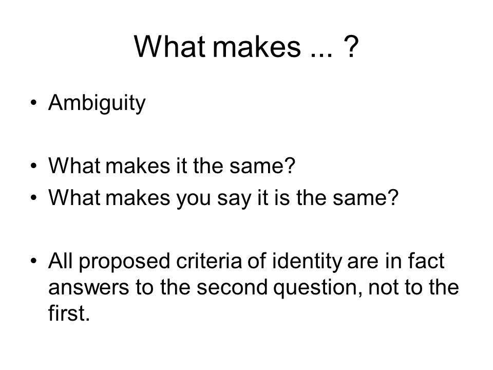 What makes... ? Ambiguity What makes it the same? What makes you say it is the same? All proposed criteria of identity are in fact answers to the seco