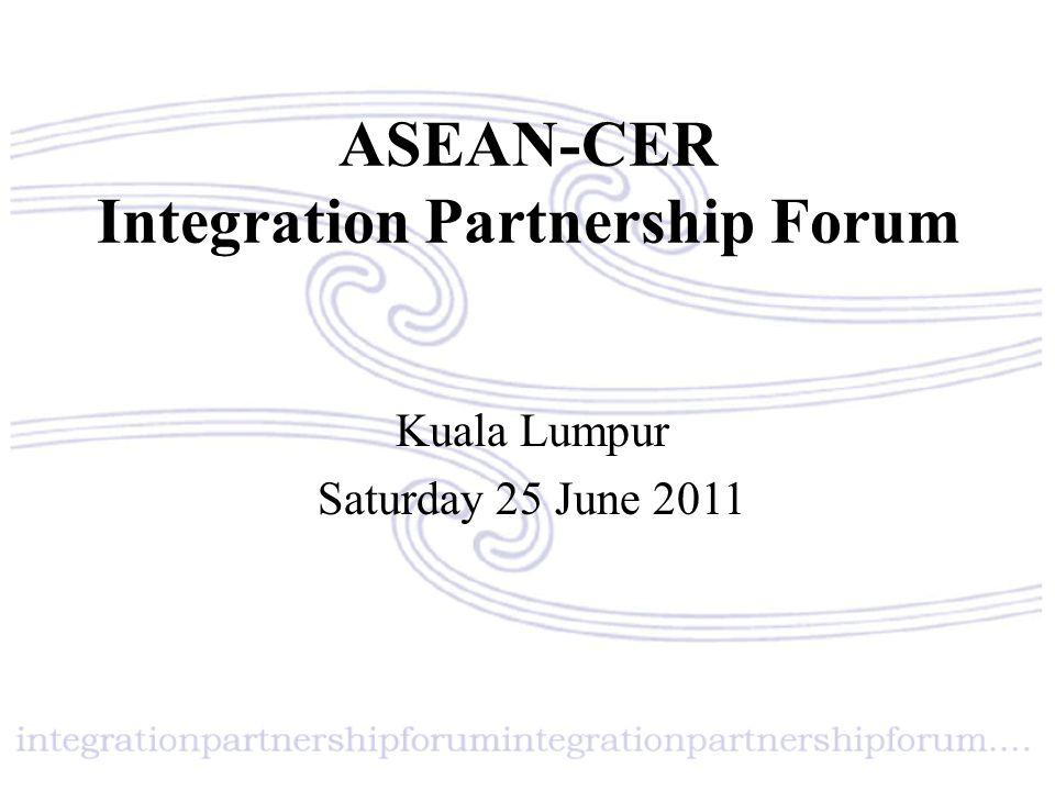 ASEAN – CER Integrated Partnership Forum Evolution of CER to SEM Geoff Miller Principal Adviser, Markets Group, Department of the Treasury, Australia