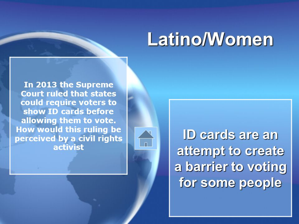 Latino/WomenLatino/Women In 2013 the Supreme Court ruled that states could require voters to show ID cards before allowing them to vote.