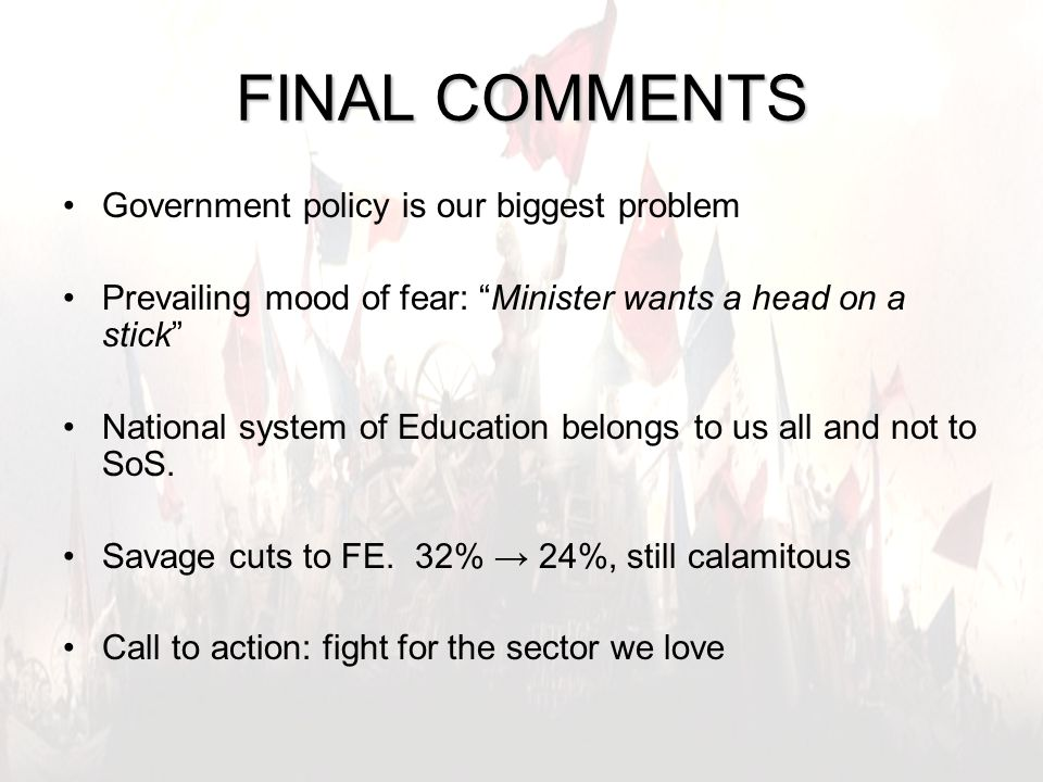 "16 FINAL COMMENTS Government policy is our biggest problem Prevailing mood of fear: ""Minister wants a head on a stick"" National system of Education be"