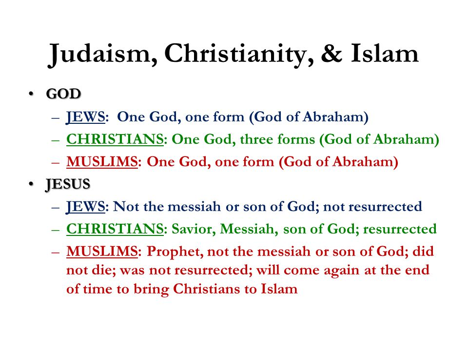 Judaism, Christianity, & Islam GODGOD –JEWS: One God, one form (God of Abraham) –CHRISTIANS: One God, three forms (God of Abraham) –MUSLIMS: One God, one form (God of Abraham) JESUSJESUS –JEWS: Not the messiah or son of God; not resurrected –CHRISTIANS: Savior, Messiah, son of God; resurrected –MUSLIMS: Prophet, not the messiah or son of God; did not die; was not resurrected; will come again at the end of time to bring Christians to Islam