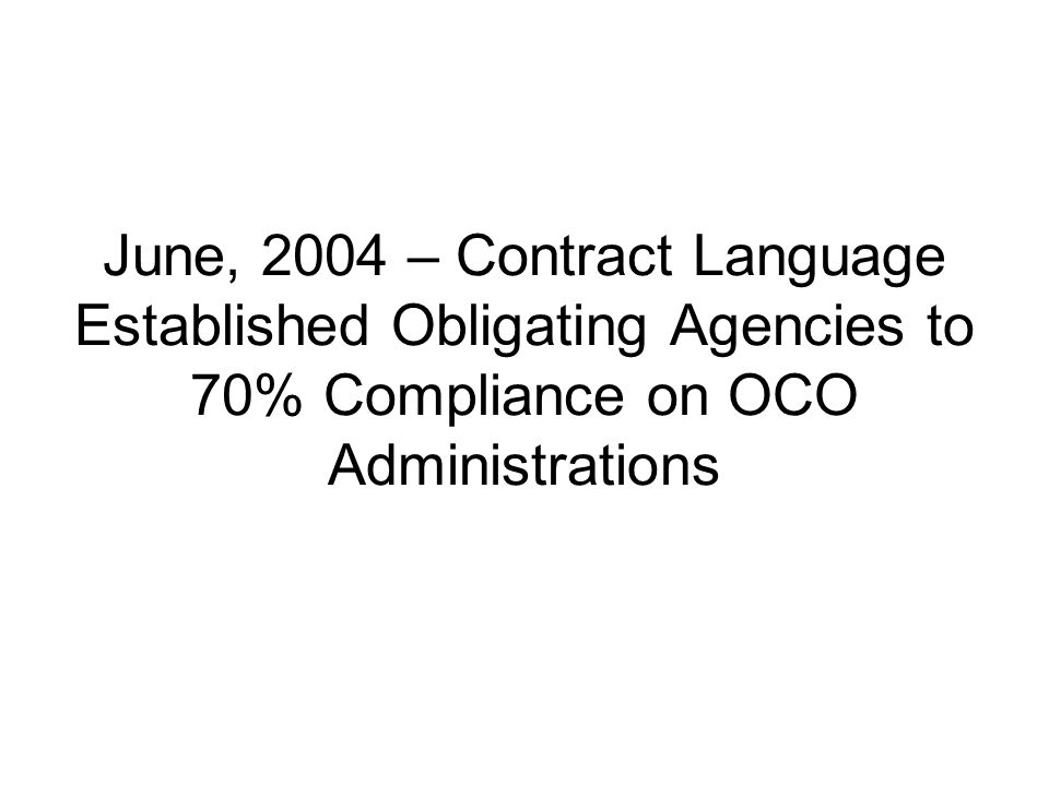 June, 2004 – Contract Language Established Obligating Agencies to 70% Compliance on OCO Administrations