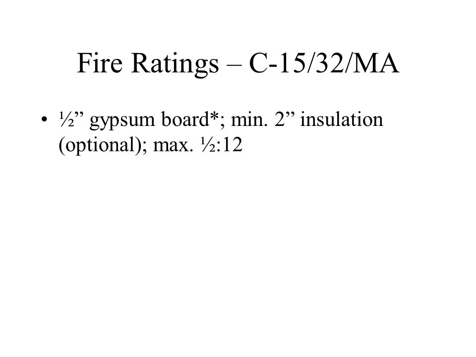 Fire Ratings – C-15/32/MA ½ gypsum board*; min. 2 insulation (optional); max. ½:12