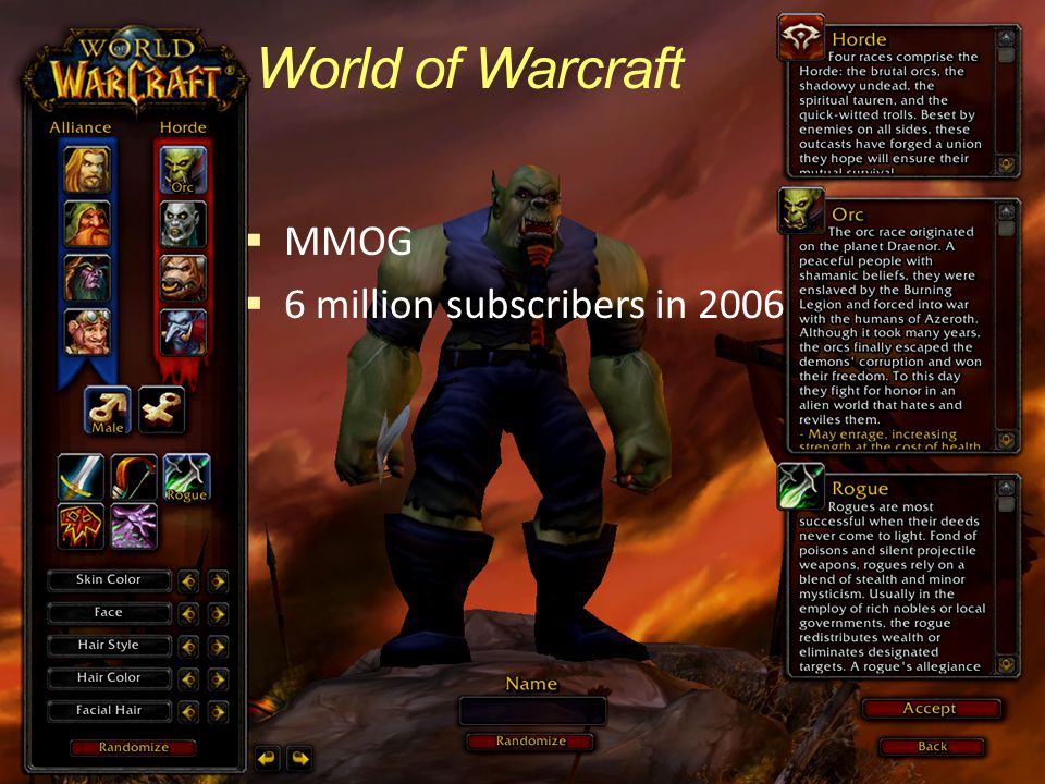 World of Warcraft  MMOG  6 million subscribers in 2006
