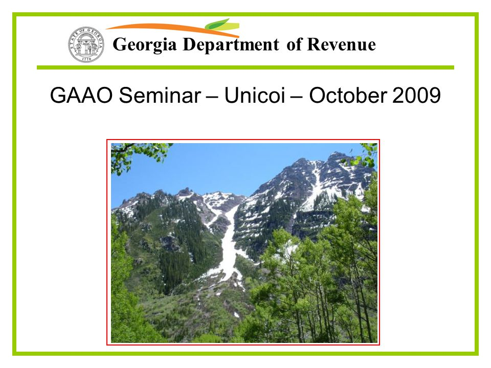 Georgia Department of Revenue GAAO Seminar – Unicoi – October 2009