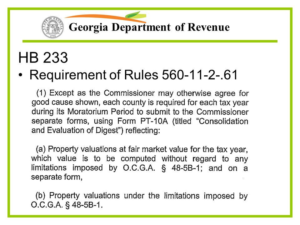 Georgia Department of Revenue HB 233 Requirement of Rules 560-11-2-.61