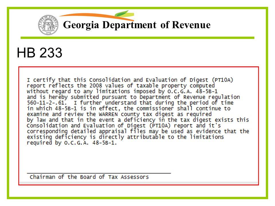 Georgia Department of Revenue HB 233