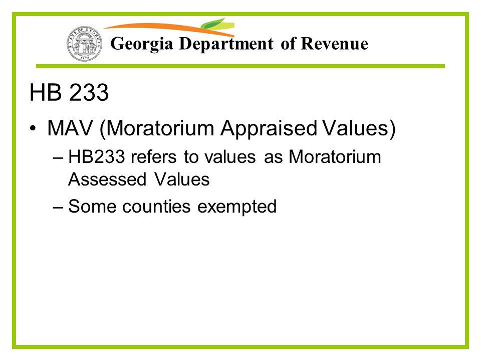 Georgia Department of Revenue HB 233 MAV (Moratorium Appraised Values) –HB233 refers to values as Moratorium Assessed Values –Some counties exempted