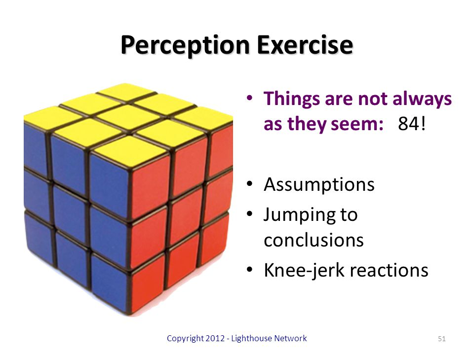 Perception Exercise Things are not always as they seem: 84! Assumptions Jumping to conclusions Knee-jerk reactions Copyright 2012 - Lighthouse Network