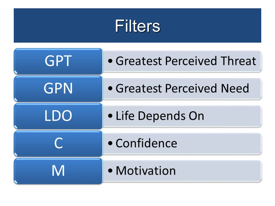 Filters Greatest Perceived Threat GPT Greatest Perceived Need GPN Life Depends On LDO Confidence C Motivation M