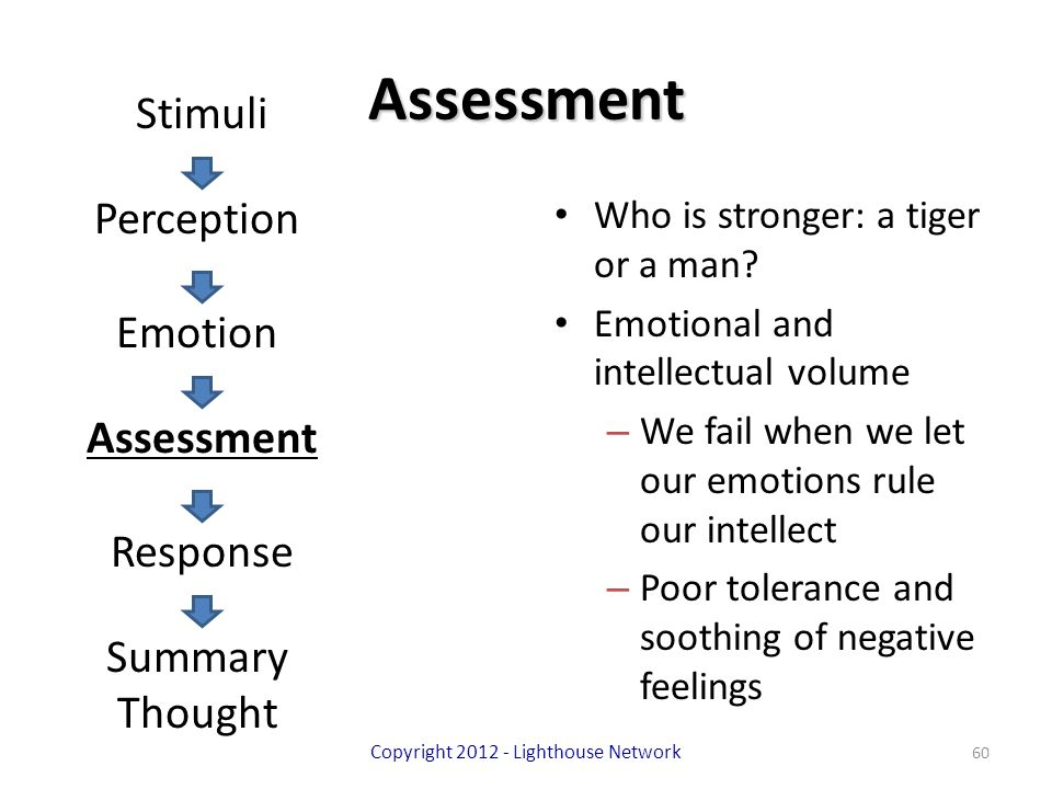 Assessment Who is stronger: a tiger or a man? Emotional and intellectual volume – We fail when we let our emotions rule our intellect – Poor tolerance