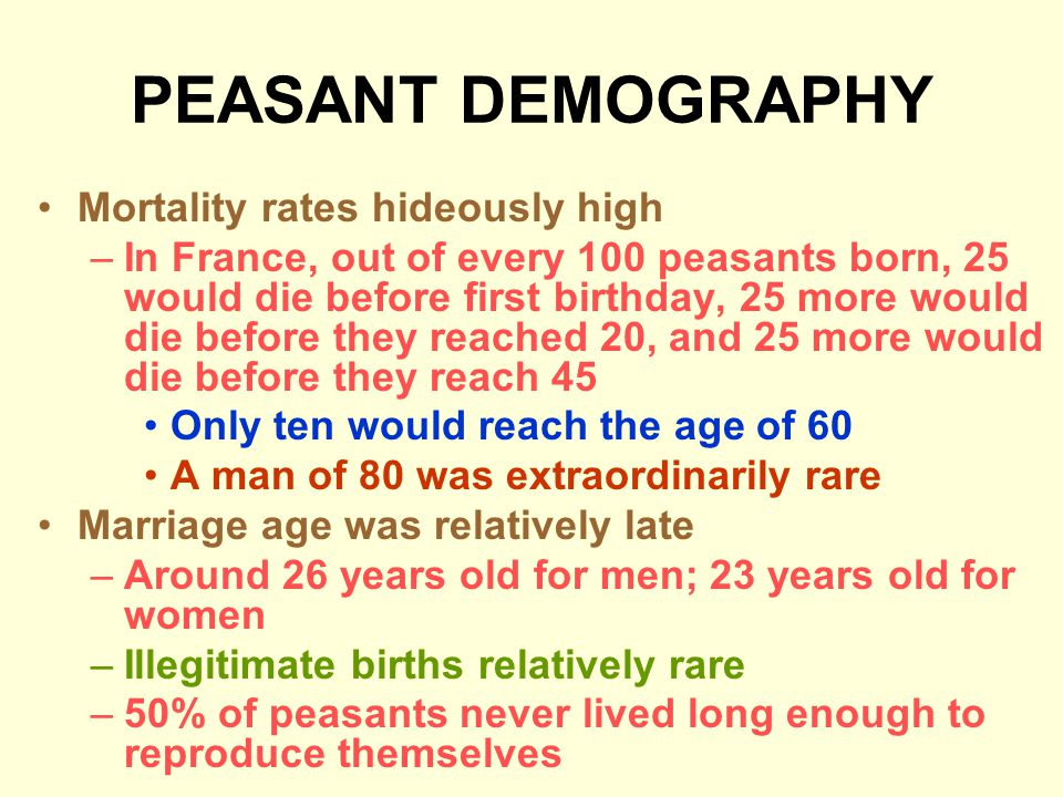 PEASANT DEMOGRAPHY Mortality rates hideously high –In France, out of every 100 peasants born, 25 would die before first birthday, 25 more would die before they reached 20, and 25 more would die before they reach 45 Only ten would reach the age of 60 A man of 80 was extraordinarily rare Marriage age was relatively late –Around 26 years old for men; 23 years old for women –Illegitimate births relatively rare –50% of peasants never lived long enough to reproduce themselves