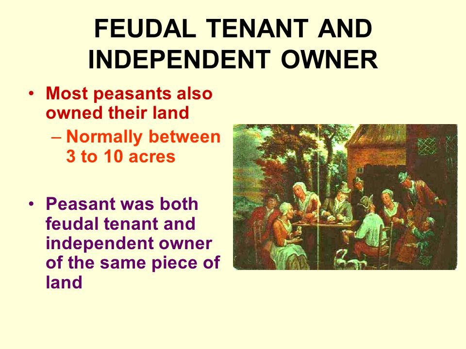 FEUDAL TENANT AND INDEPENDENT OWNER Most peasants also owned their land –Normally between 3 to 10 acres Peasant was both feudal tenant and independent owner of the same piece of land