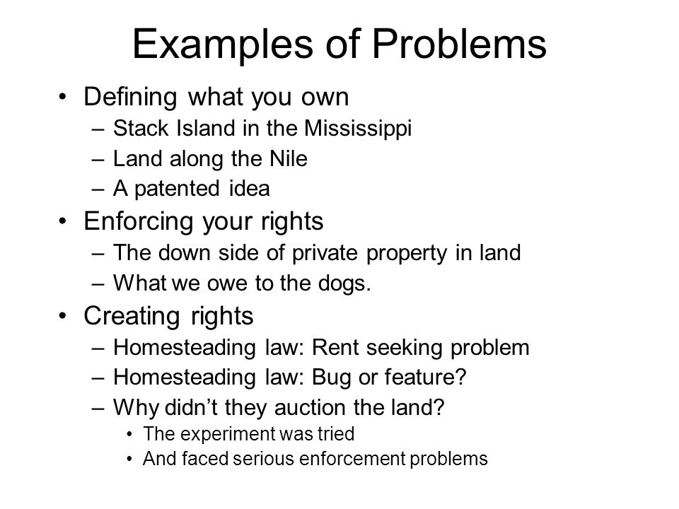 Examples of Problems Defining what you own –Stack Island in the Mississippi –Land along the Nile –A patented idea Enforcing your rights –The down side
