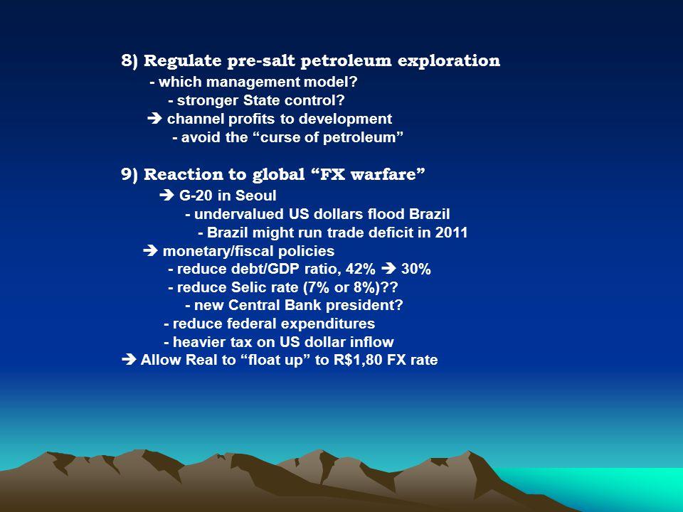 8) Regulate pre-salt petroleum exploration - which management model.