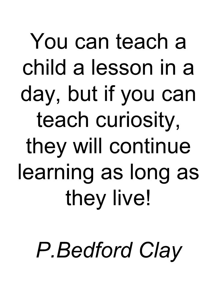 You can teach a child a lesson in a day, but if you can teach curiosity, they will continue learning as long as they live.
