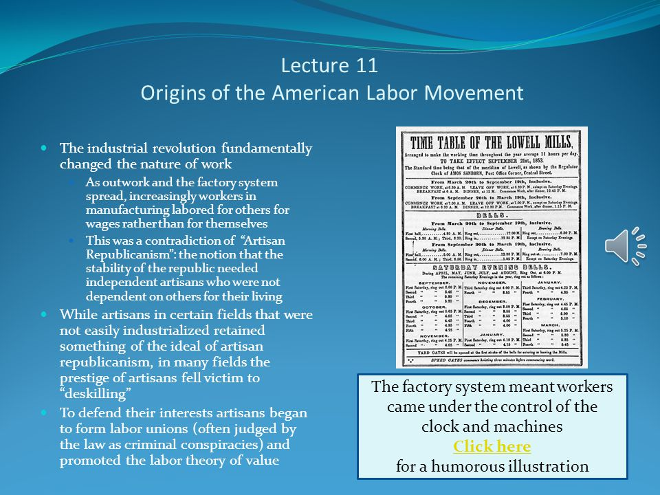 Lecture 11 American Contributions to Industrialization Americans not only improved on British industrial technology but made their own original contributions Americans pioneered the development of machine tools Eli Whitney More famous for the cotton gin, he promoted the development of interchangeable parts He used this concept to fulfill a contract for the delivery of muskets to the U.S.