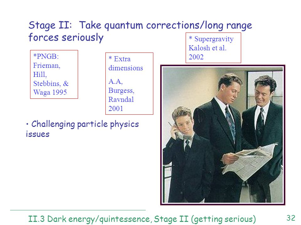 32 II.3 Dark energy/quintessence, Stage II (getting serious) Stage II: Take quantum corrections/long range forces seriously *PNGB: Frieman, Hill, Stebbins, & Waga 1995 * Extra dimensions A.A, Burgess, Ravndal 2001 * Supergravity Kalosh et al.