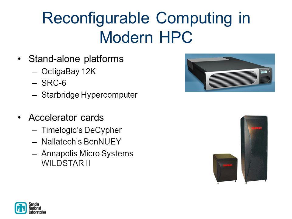 Reconfigurable Computing in Modern HPC Stand-alone platforms –OctigaBay 12K –SRC-6 –Starbridge Hypercomputer Accelerator cards –Timelogic's DeCypher –Nallatech's BenNUEY –Annapolis Micro Systems WILDSTAR II