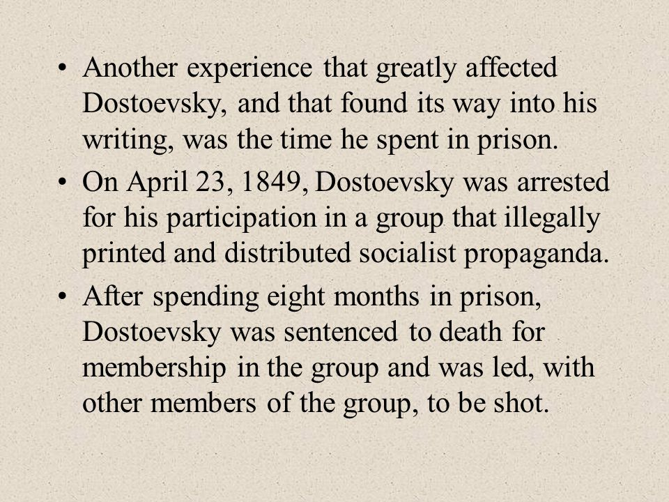True Crime and True Innocence A very personal experience also influenced Dostoevsky s choice for a parricide to dominate the external action of the novel.