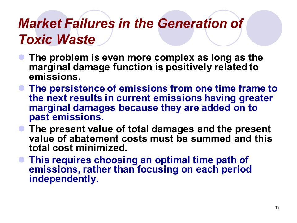 19 Market Failures in the Generation of Toxic Waste The problem is even more complex as long as the marginal damage function is positively related to emissions.